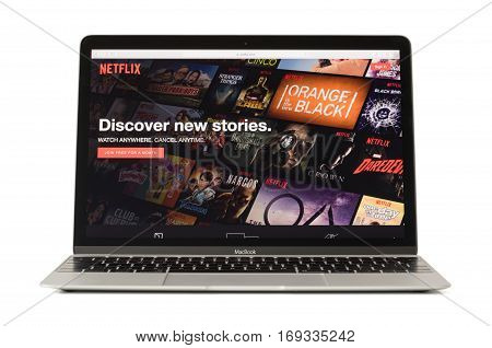 RIGA LATVIA - February 06 2017: Netflixthe worlds leading subscription service for watching TV and movies on 12-inch Macbook laptop computer.
