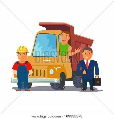 Cartoon Businesman with Truck Driver and Builder Characters. Consctruction Team. Vector illustration