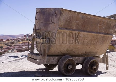 Mine cart at Cerro Rico mines in Potosi, Bolivia