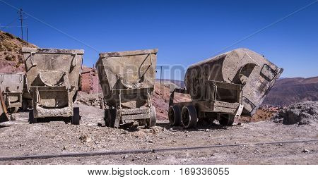 Mine carts at Cerro Rico mines in Potosi, Bolivia