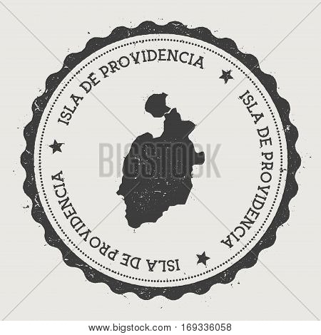 Isla De Providencia Sticker. Hipster Round Rubber Stamp With Island Map. Vintage Passport Sign With