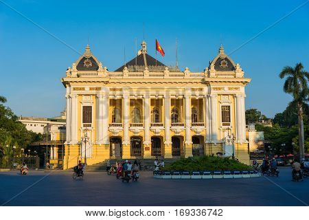 Hanoi, Vietnam - Sep 14, 2014: Hanoi Opera House in clear evening,  modeled on the Palais Garnier, the older of Paris's two opera houses, and is considered to be one of the architectural landmarks of Hanoi