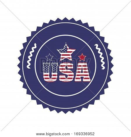 stamp with letters U S A and star in round frame vector illustration