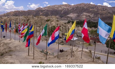 Various international flags at Valle de la Luna, La Paz, Bolivia