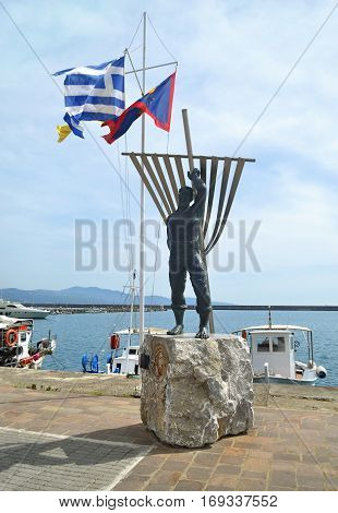 NAVARINOU KALAMATA GREECE, MARCH 26 2016: man statue at Navarinou road Kalamata Peloponnese Greece. Editorial use.