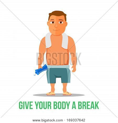 Cartoon guy, after work out, with towel and water bottle. Vector illustration