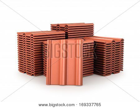 Image of roof tiles. 3D illustration .