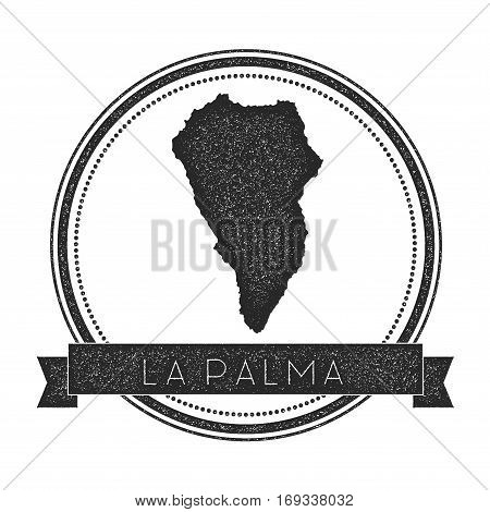 La Palma Map Stamp. Retro Distressed Insignia. Hipster Round Badge With Text Banner. Island Vector I