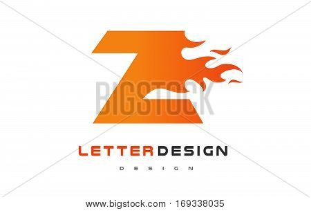Z Letter Flame Logo Design. Fire Logo Lettering Concept Vector.