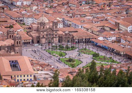 Aerial view on Plaza de Armas in Cusco, Peru