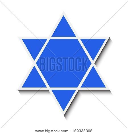 Star of David with a shadow. Isolated on white background. Vector illustration