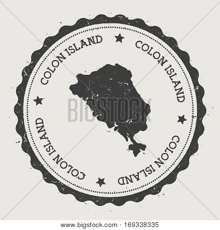 Colon Island Sticker. Hipster Round Rubber Stamp With Island Map. Vintage Passport Sign With Circula
