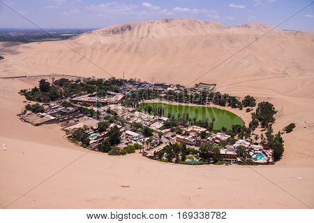 Hucachina oasis and sand dunes near Ica, Peru