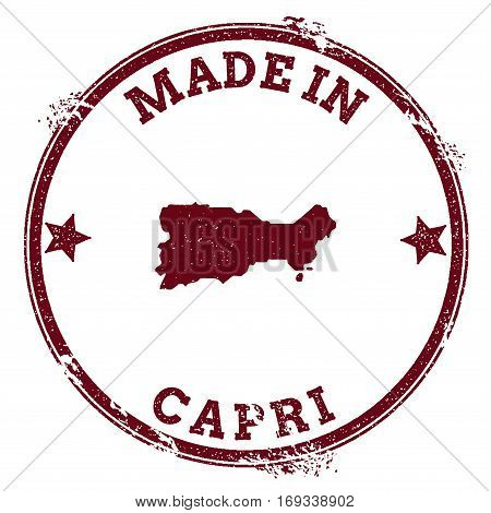 Capri Seal. Vintage Island Map Sticker. Grunge Rubber Stamp With Made In Text And Map Outline, Vecto