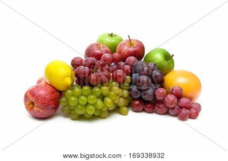 grapes and other fruits isolated on white background. horizontal photo.