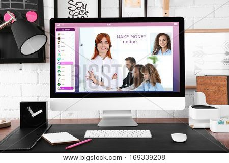 Video conference with financial advisor on computer. Investment and tax concept.