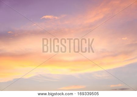 Colorful Clouds against the blue sunset sky