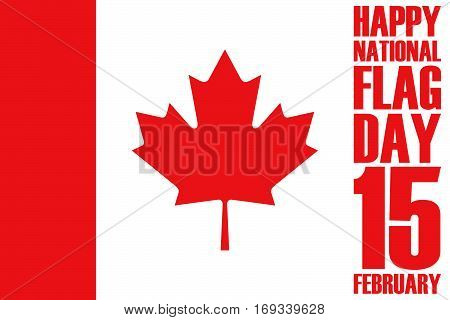 National Flag Day of Canada greeting card. Vector Illustration.