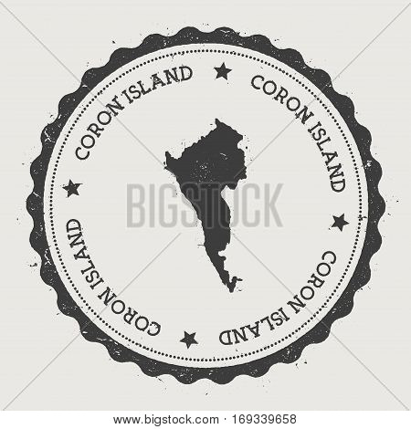 Coron Island Sticker. Hipster Round Rubber Stamp With Island Map. Vintage Passport Sign With Circula
