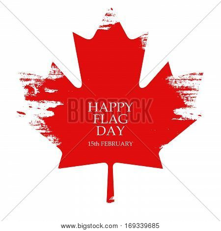 National Flag Day of Canada greeting card. Maple leaf on red background. Vector Illustration.