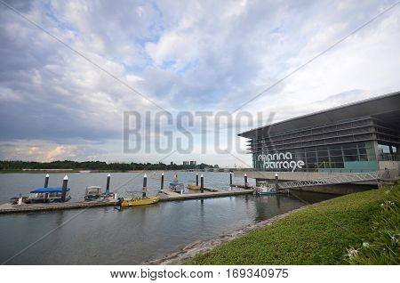 SINGAPORE - JAN 15 2017: Marina Barrage Singapore. Marina Barrage is a government-commissioned dam built across the mouth of Marina Channel