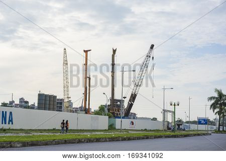 Hanoi, Vietnam - Sept 21, 2014: Under construction building area by Thanh Xuan street, Hanoi, Vietnam
