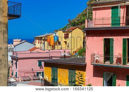 Manarola fishing village in Five lands, Cinque Terre National Park, Liguria, Italy.