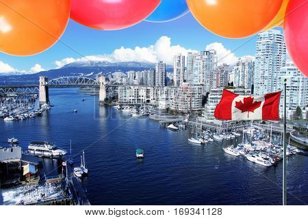Balloons and the Canadian flag in front of the city of  Vancouver, for Canada's 150 Birthday celebration July 1st 2017.