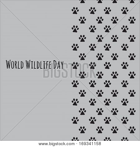 Animal's footprint. Picture ready for use in World Wildlife Day thematic .