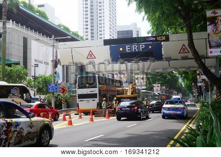 Cars Passes Through Erp System At Orchard In Singapore