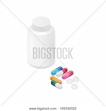 Vector illustration. Closed white Pill bottle on white background, colorful capsules with granules and tablets. Template for design of business cards, posters, invitations to medical clinics. 3D. Isometric.