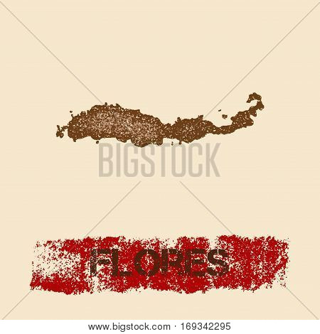 Flores Distressed Map. Grunge Patriotic Poster With Textured Island Ink Stamp And Roller Paint Mark,