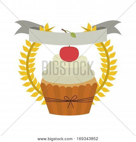 crown of leaves with cupcake with cream and cherry vector illustration