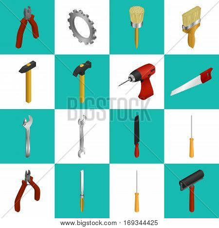 Vector illustration. Set of icons of working tools for construction and repair. Wrench, adjustable wrench, drill, saw, hammer, axe, paint brush, roller, gear screwdriver Isometric 3D