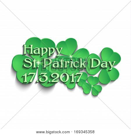 St.Patrick's Day shamrock text vector template green