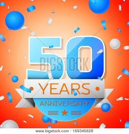 Fifty years anniversary celebration on orange background. Anniversary ribbon