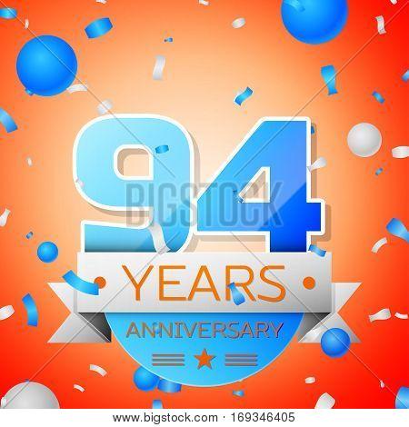 Ninety four years anniversary celebration on orange background. Anniversary ribbon