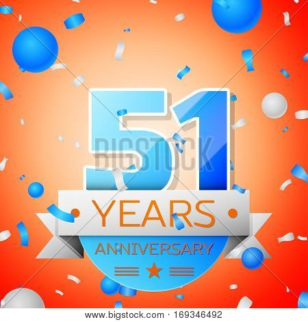 Fifty one years anniversary celebration on orange background. Anniversary ribbon