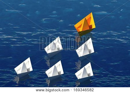 Paper boats on the sea. Leadership concept 3d illustration.