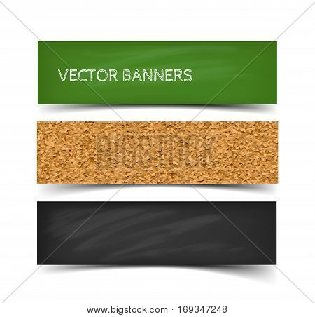 School board banner set. Realistic vector illustration of greenboard, blackboard and corkboard with chalk. Web banners with shadow isolated on white background.