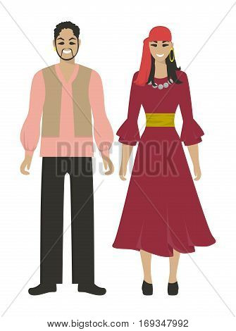 Isolated gypsy couple on white background. Romani people in national costumes.