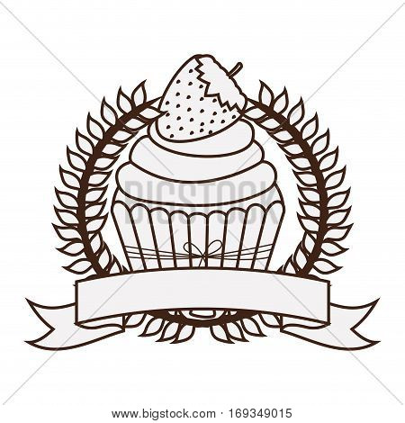 silhouette crown of leaves with cupcake with cream and strawberry vector illustration