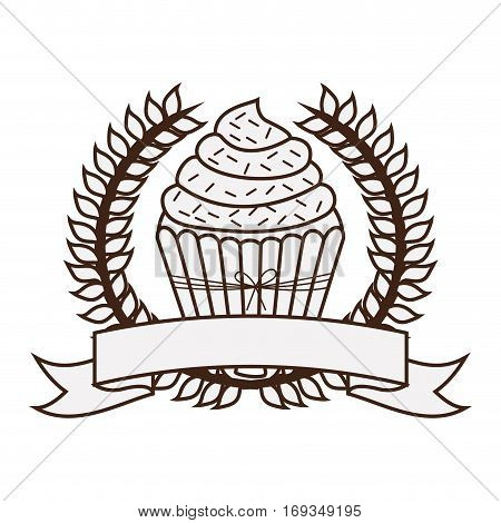 silhouette crown of leaves with cupcake with cream and sparks vector illustration