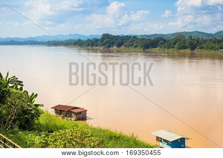 Landscape view of Khong river at Thai-Laos border at Chiangkhan distric Thailand