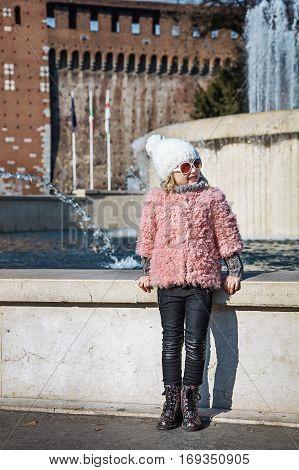 Modern Girl In Milan, Italy Looking Aside