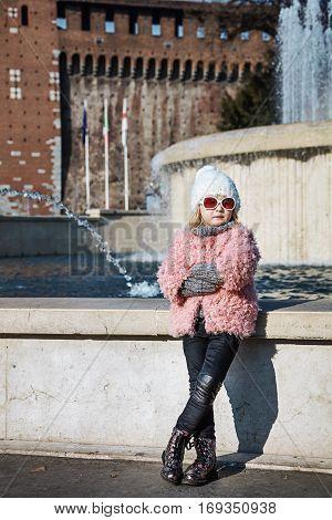 Modern Girl Near Sforza Castle In Milan, Italy
