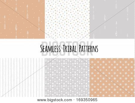 Set of modern seamless hand drawn geometric tribal patterns. Vector aztec design illustration.