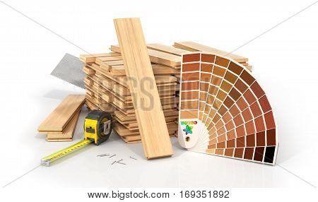 Stack of parquet. Timberwork lumber work and woodwork industry concept: stacks of wooden timber planks on the white background. 3d illustration