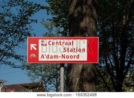 Information sign with arrow in Amsterdam Nederland