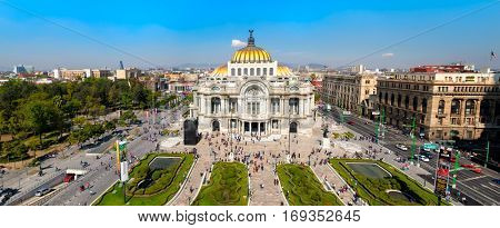 MEXICO CITY,MEXICO - DECEMBER 28,2016 : Panoramic view of the Palacio de Bellas Artes , the Alameda Central and the Historic Center of Mexico City